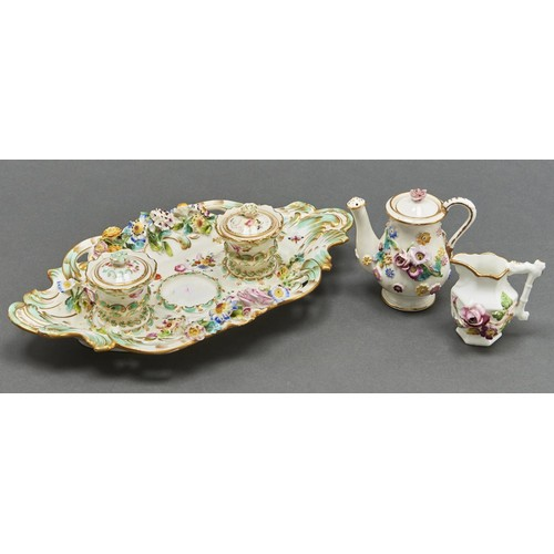 817 - A Coalport Coalbrookdale 'Strephon ink[stand]', c1830, a contemporary toy teapot and cover and a sim...