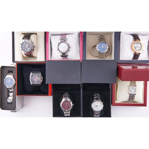 613A - Nine various lady's and gentleman's fashion watches, boxed / cased