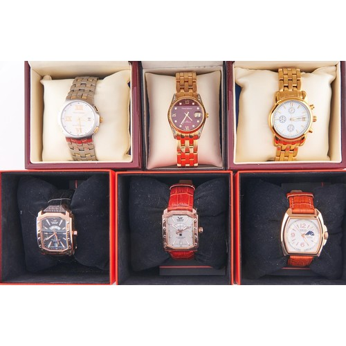 613B - Six gold plated and other fashion watches, boxed