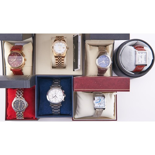613C - Seven Ingersoll and other fashion watches, boxed / cased