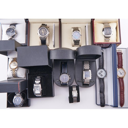 613D - Twelve stainless steel and other fashion watches, all but one boxed / cased