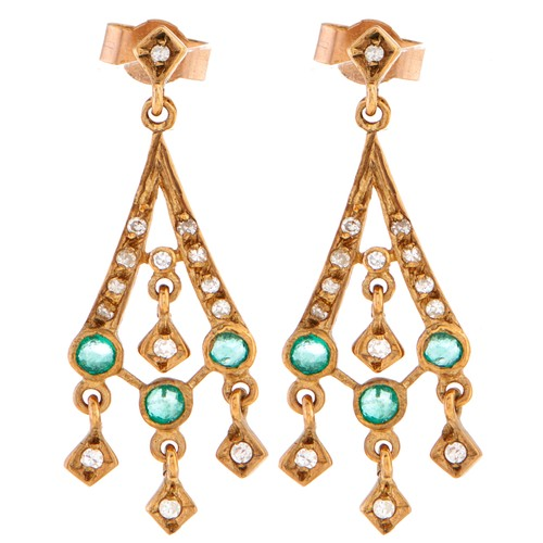 169 - A pair of 9ct gold, diamond and emerald earrings, 2.1g