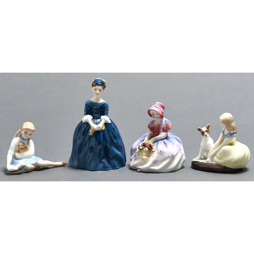 829 - Four Royal Doulton figures of girls and young women, c1970, including My Pet and Golden Days, 14cm h...