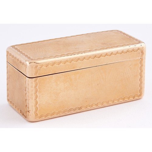 618 - A French gold snuff box, all sides moire engine turned, 64mm l, maker's, charge and discharge marks,...