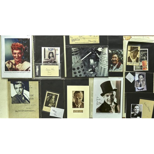 990 - Film and Television Autographs. A collection of signed photograph letters and documents mounted albu...