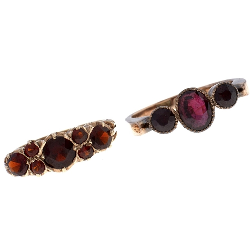 504 - A Victorian three stone garnet ring,c1900,in gold marked 9ct and a garnet ring in 9ct gold, London...