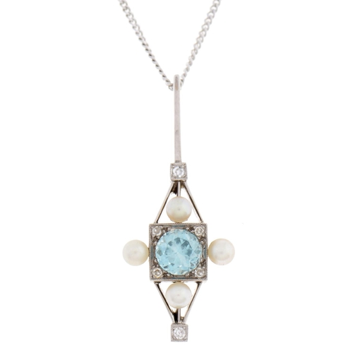 510 - An aquamarine, diamond and cultured pearl pendant, millegrain set, in white gold, 34mm and an 18ct w...