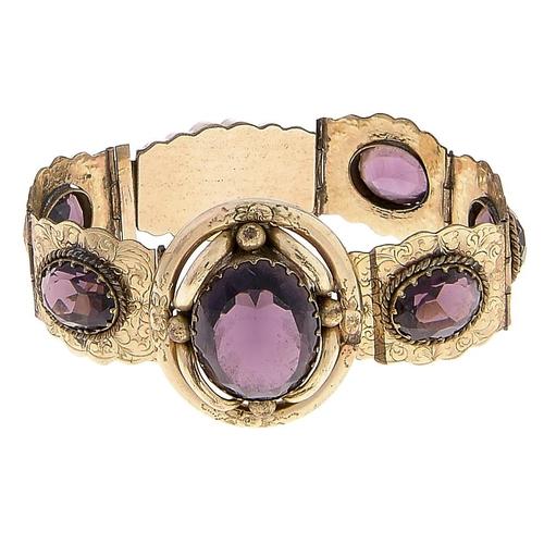 514 - A Victorian purple paste and giltmetal bracelet, c1870,15.5cm l