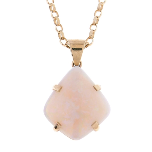 515 - A kite shaped opal pendant,in 9ct gold, opal 31mm and a gold necklet marked 9K, 8.6g...