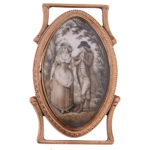 517 - An English bright cut gold mourning locket, c1780, with ivory miniature of a couple painted en grisa...
