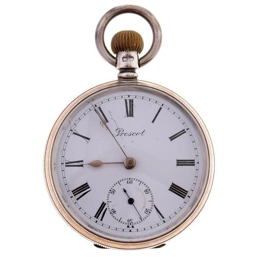 520 - An English silver keyless lever watch, Prescot, with three quarter plate Vigil movement signed Lanc...