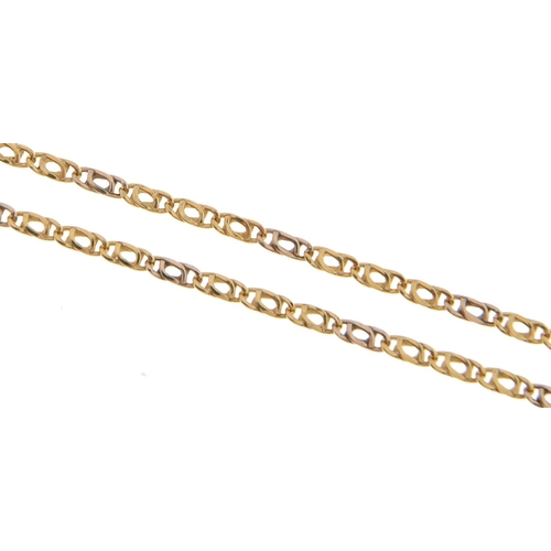524 - A gold necklace, 50cm, marked 750, 4.5g