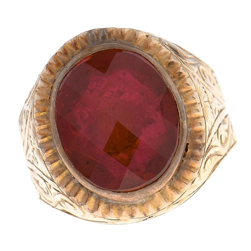 528 - A synthetic ruby ring, engraved and fluted gold band, 6.5g, size K½