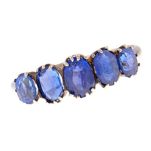 541 - A five stone synthetic sapphire ring, in 9ct gold, import marked Chester 1905, 1.8g, size Q...