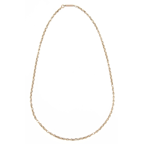 544 - A gold necklace, c1900, 46cm, unmarked, 8.1g