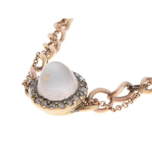 548 - A jewelled gold bracelet with central high domed moonstone cabochon and rose diamond cluster, c1900,...
