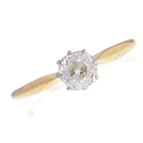 553 - A diamond solitaire ring, the cushion shaped old cut diamond weighing approximately 0.5ct, gold hoop...