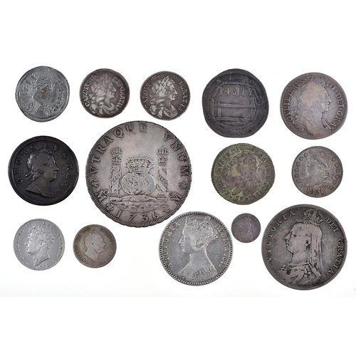 11 - Coins. Great Britain, George I, Halfpenny, 1718, almost very fine; 6d 1828; 1/- 1696; 2/- 1849; 2/6 ...