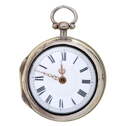 12 - An English silver pair cased verge watch, Frans Pinney London, No 8355, with enamelled dial and fine...