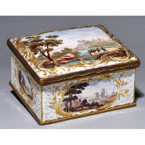 13 - An enamel box, late 19th century, the sides and slightly domed lid painted in polychrome with pastor...
