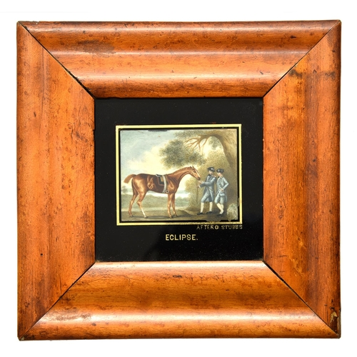 """20 - After George Stubbs – Miniature of the thoroughbred racehorse """"Eclipse"""",ivory, 60 x 78mm, verre egl..."""