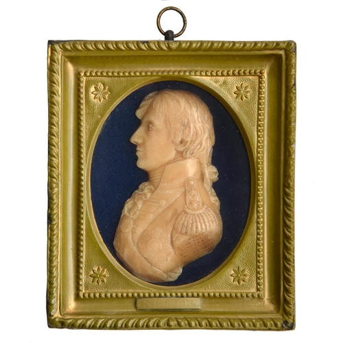 27 - A moulded wax bas relief portrait of Lord Nelson by CatherineAndras (1775-1860), modelled in August...