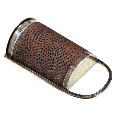 30 - A George III silver nutmeg grater, with reeded frame and steel rasp, integral hinge, 10.7cm h, by Ph...