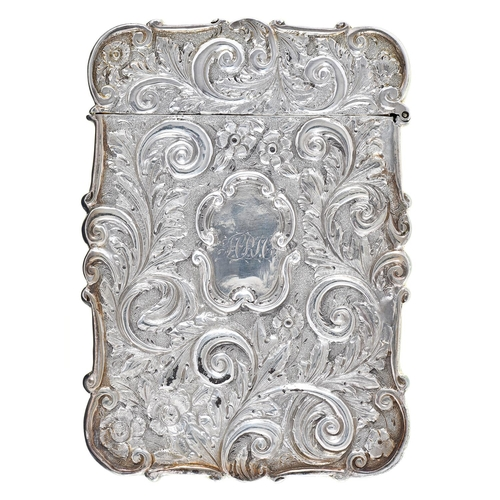 32 - St Paul's Cathedral. A Victorian high relief die stamped silver card case, 10cm h, by Nathaniel Mill...