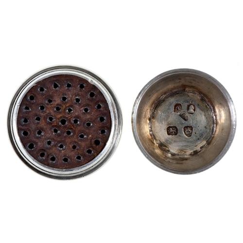 35 - A GeorgeIII silver nutmeg grater,of reeded barrel shape, steel rasp, 40mm h, maker IS, London 1796...