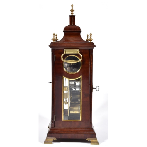 368 - An English mahogany bracket clock, Edward Pashler, London, c1775,the breakarched brass dial with ma...