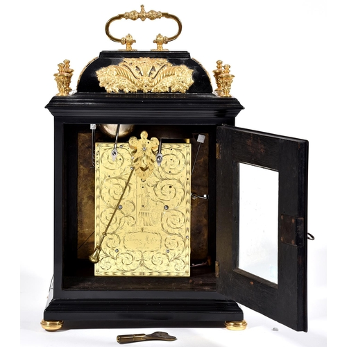370 - An English basket top ebony clock, Henry Massy London, c1700, the brass dial with matted centre, dat...