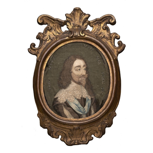 436 - A fine Englishembroidered miniature of CharlesI,London, c1660-70, silk and metal thread, based on...