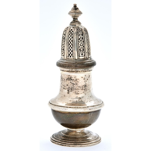 46 - An Elizabeth II silver sugar caster and cover, 16cm h, by William Comyns and Sons Limited, London 19...