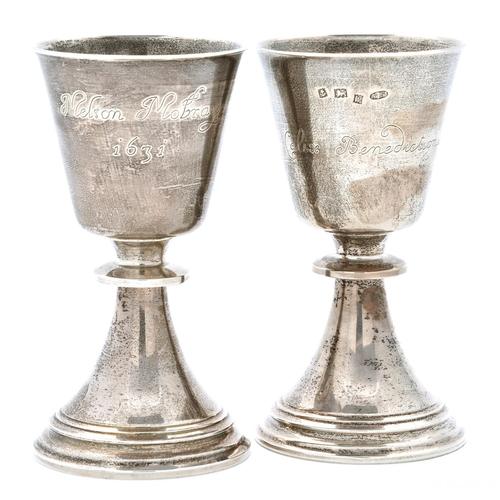 48 - Two Elizabeth II silver replicas of the Melton Mowbray chalice, 13cm h, by A Edward Jones, Birmingha...