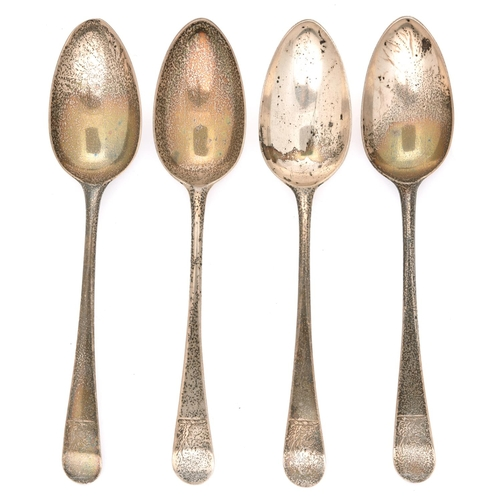 54 - A set of four George III silver tablespoons, Old English pattern, crested, by Hester Bateman, London...