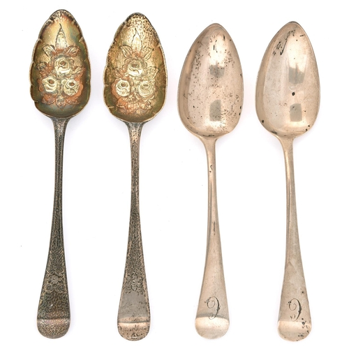 55 - Two pairs of GeorgeIII silver tablespoons, Old English pattern, one later chased and gilt as a ber...