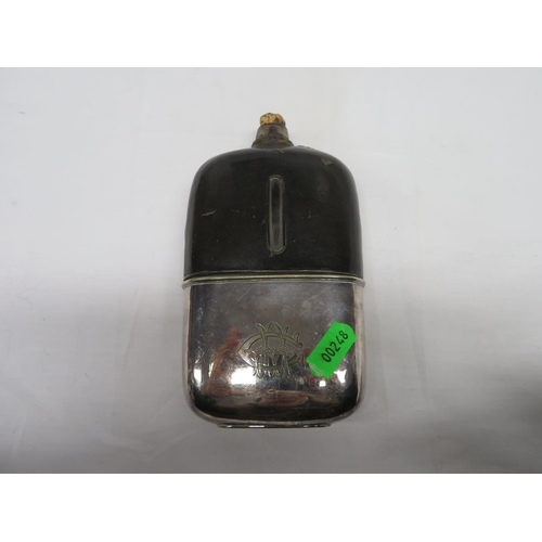 43 - Leather & glass early hip flask...