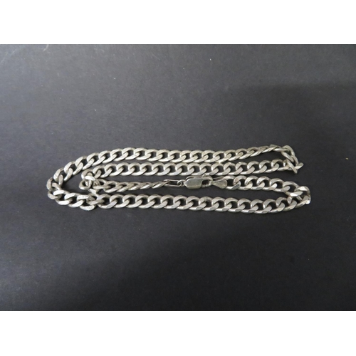 30 - Vintage silver diamond cut curb link chain 32 grams...