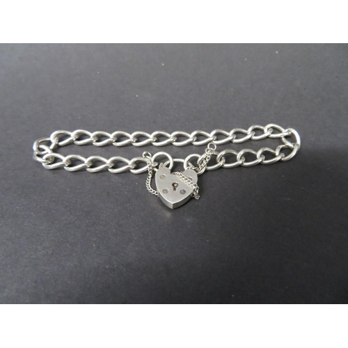 43 - Vintage silver bracelet with padlock and safety chain...