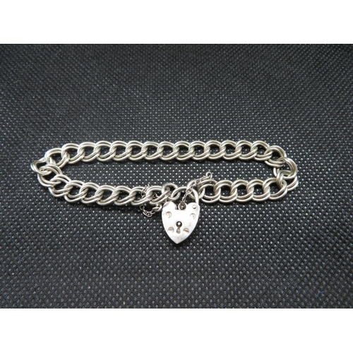 28 - Vintage silver double linked bracelet with padlock and chain HM Birmingham 1976 13g...