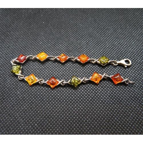 7 - Vintage silver bracelet set with baltic amber 9g...
