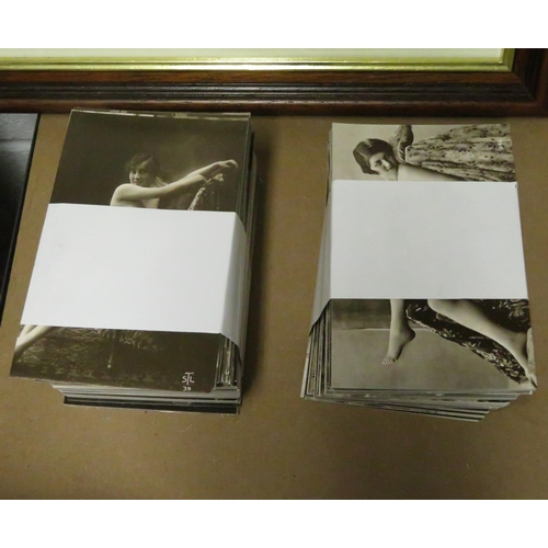Complete collection of 336 different erotic postcards - sepia reproductions