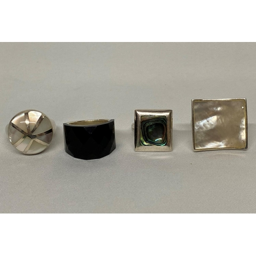 10 - Job lot of 4 silver dress rings...