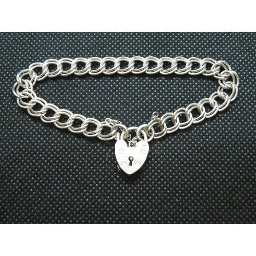 26 - Vintage silver double link curb bracelet 13.2 g Birmingham HM...