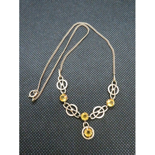 33 - 9ct gold necklace fully HM yellow stones 6.8g...