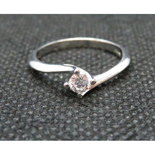 37 - Lady's 9ct white gold diamond .18carat solitaire ring...