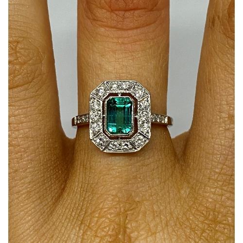 4 - Art Deco platinum emerald and diamond cluster ring...