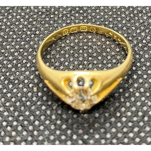 19 - Victorian Gypsy set diamond ring with full insurance valuation £1850.00 - diamond approx .65ct HM 18...