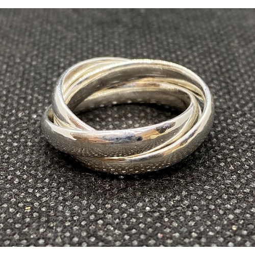 21 - Russian silver wedding ring size P 9.8g...