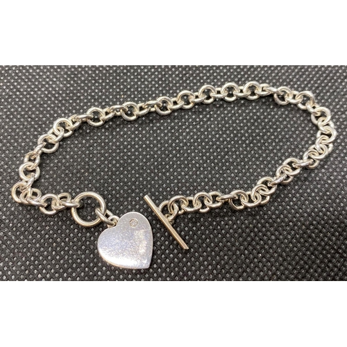 36 - Diamond set heart and toggle style bracelet fully HM 13g...